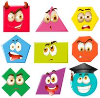 Diferentes formas con expresiones faciales.