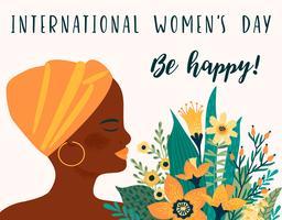 Día Internacional de la Mujer. Plantilla de vectores con mujer africana y flores