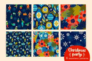Christmas seamless patterns with dancing women and New Year symbols.