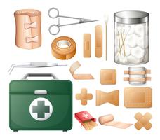 Medical equipment in firstaid box vector