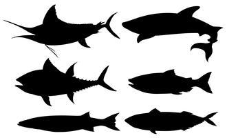 Set van zwarte contour vis
