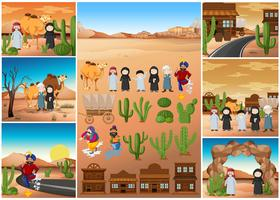 Desert scenes with people and buildings