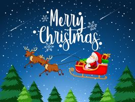 Merry Christmas santa sleigh vector