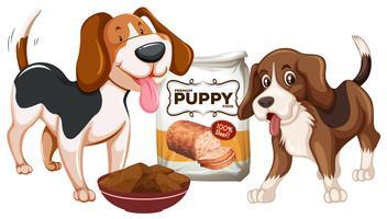 Cachorro y comida sobre fondo blanco