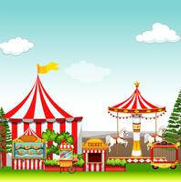 Amusement park with many rides