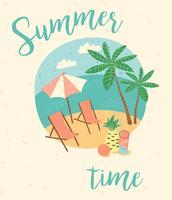 Ilustração de férias de verão. Estilo retrô de desenho liso.