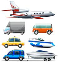 Different transportations on white background