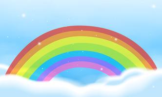 Sky scene with bright rainbow