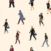 Seamless pattern with people going to work.