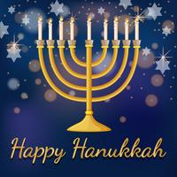 Happy Hanukkah card template with light and stars