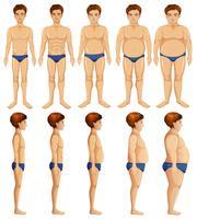 Un conjunto de transformación del cuerpo del hombre.