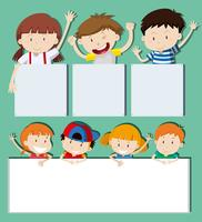 Blank banners with happy children