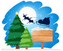 Wooden sign santa in sleigh concept