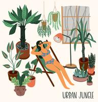 Urban Jungle. Vector illustration with houseplants.