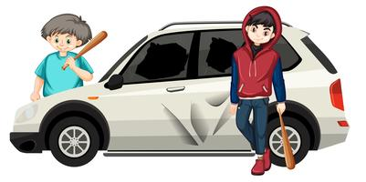 Bad teenagers destoyed car vector