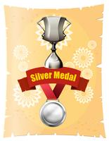 Silver medal and trophy on poster