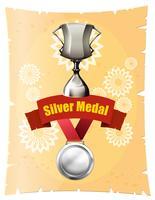 Silbermedaille und Trophäe auf Plakat