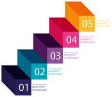 Un gráfico de información paso colorido
