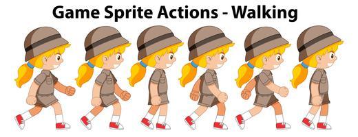 Game spirte actions girl walking