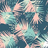 Modelo exótico inconsútil con las hojas de palma tropicales en fondo geométrico. vector