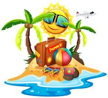 Summer theme with bag and ball on island