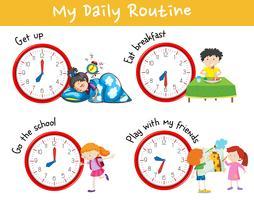 Cuadro de actividades que muestra diferentes rutinas diarias de niños.
