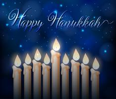Lycklig Hanukkah kort mall med ljusstrålar på natten