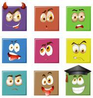 Expressões faciais em quadrados