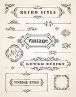 Set van retro vintage badges, kaders, etiketten en randen.