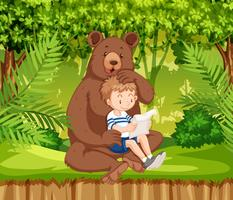 A boy and bear in jungle