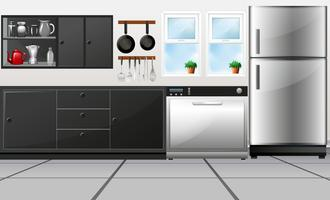 Kitchen room with utensils and electronic appliances vector