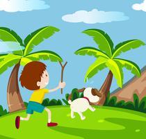 Feliz niño y perro vector