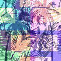 Teste padrão exótico sem emenda com a palma tropical no fundo geométrico na cor brilhante.