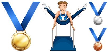 Gymnastics on parellel bars and medals vector