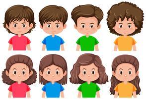 Set av brunett manlig och kvinnlig karaktär