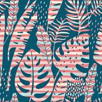 Naadloos exotisch patroon met tropische planten en strepenachtergrond.