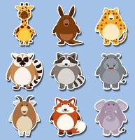 Sticker set with many animals on blue