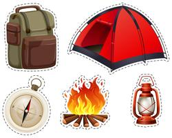 Camping set with tent and campfire