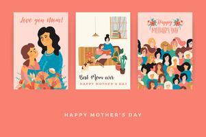 Glad mors dag. Vektor mallar för kort, affisch, banner och annan användning.