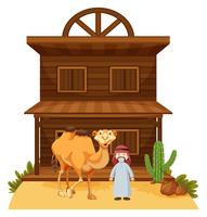 Arab man and camel at western style building