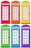 Cabinas telefónicas en seis colores.