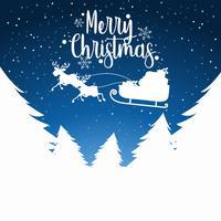 Feliz Natal trenó silhoutte