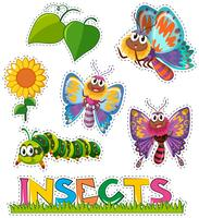 Sticker set with butterflies in garden