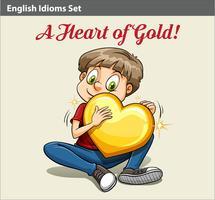 Un garçon tenant un coeur