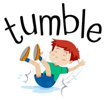 Wordcard for tumble with boy tumbling