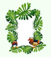 Ramdesign med löv och fågel