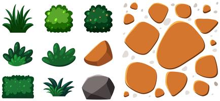 Garden Element Rocks and Plants