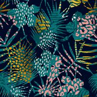 Trendy seamless exotic pattern with palm and animal prints.