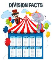 A Math Division Facts Circus Theme