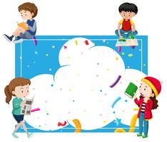 Crianças, leitura, ao redor, azul, quadro